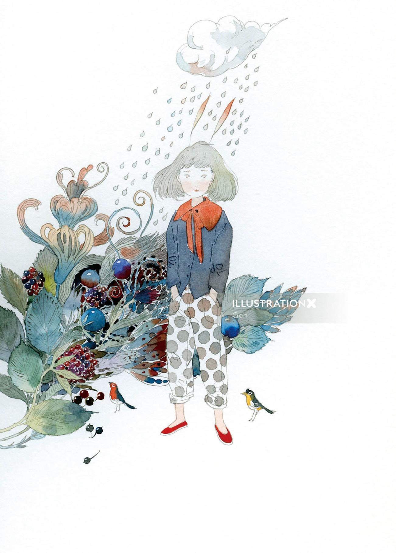 Contemporary illustration of fruits girl and rain
