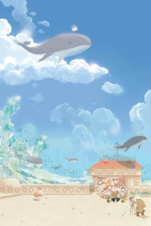 天空中的幻想海豚