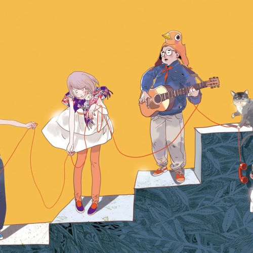 Contemporary illustration people playing music