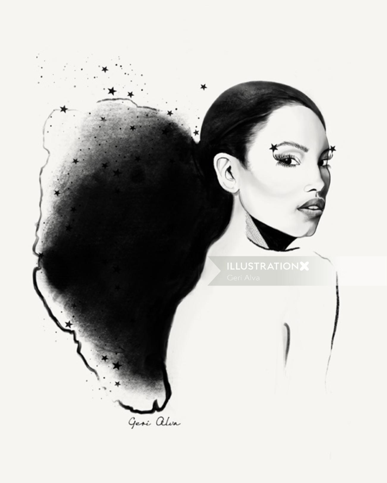 fashion, fashion illustrations, fashion editorial illustrations, beauty, the star lady, star, lady,