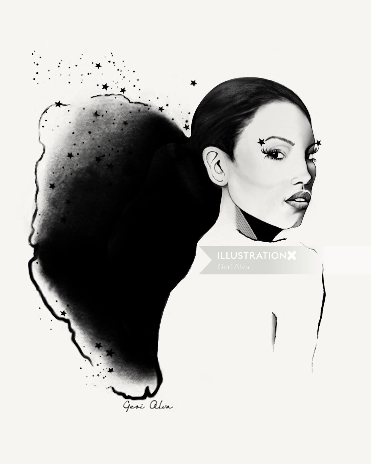 The Star Lady Glamorous Black and White Magazine Editorial illustration