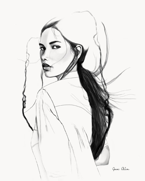 fashion, fashion illustrations, beauty, flowing hair bella, bella, black and white illustrations, gr