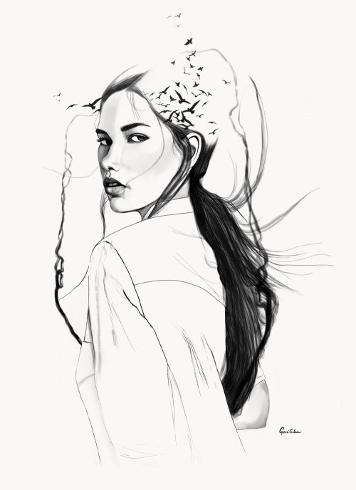 Flowing Hair Bella black and white illustration