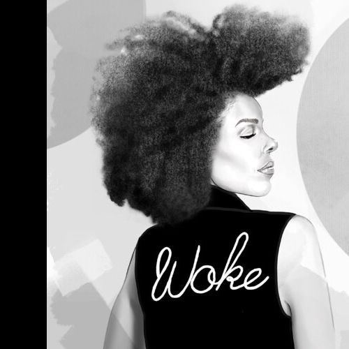 Black and white fashion illustration of woke lady