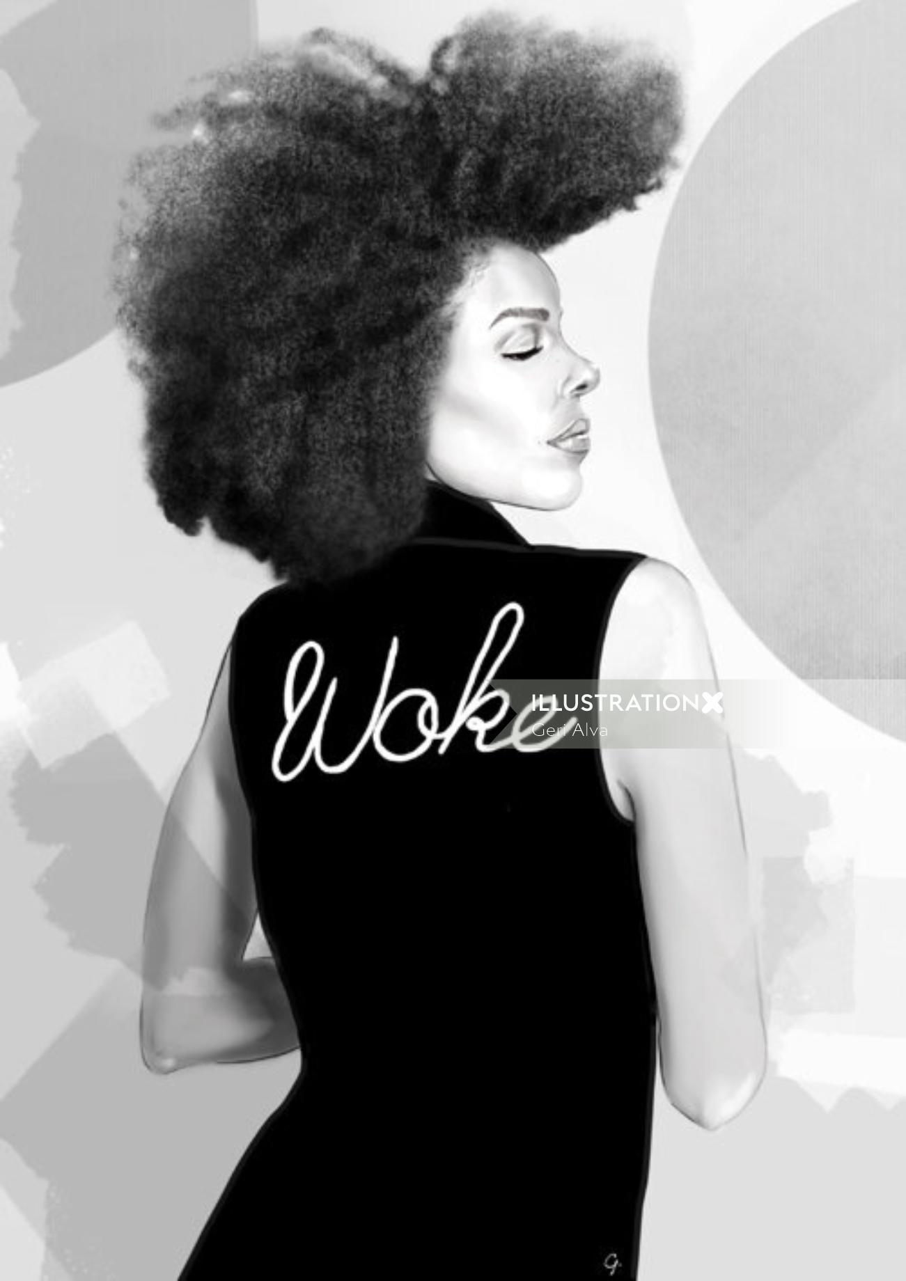 Black and white fashion illustration of woke lady
