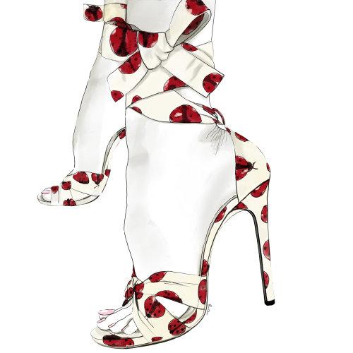 Fashion illustration of Ladybug Pumps