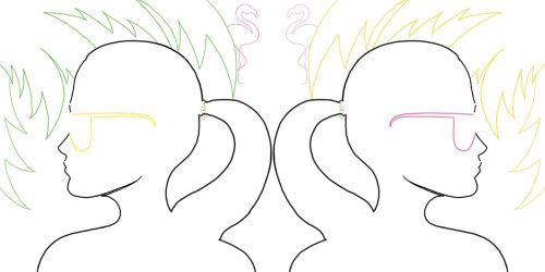 moda, ilustrações de moda, beleza, ilustrações de verão, ilustrações de palma, flamingo illustrat