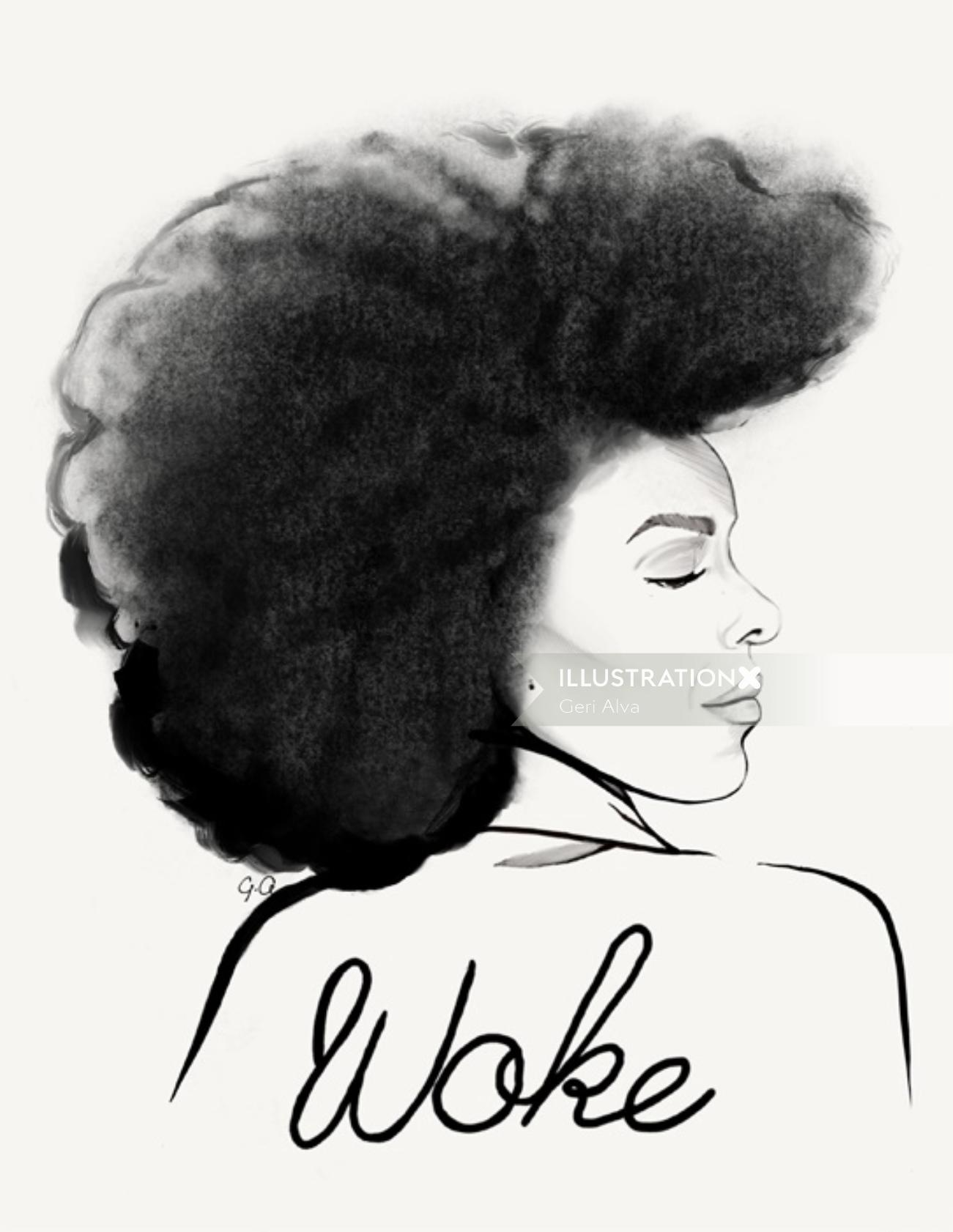 : fashion, fashion illustrations, fashion editorial illustrations, beauty, woke, woke woman, woke la