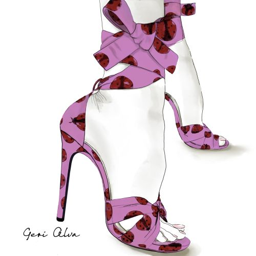fashion, beauty, pencil illustrations, digital illustrations, high heels ladybug pumps collection, l