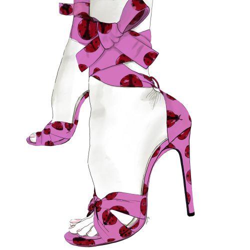 Pink ladybug pumps fashion illustration