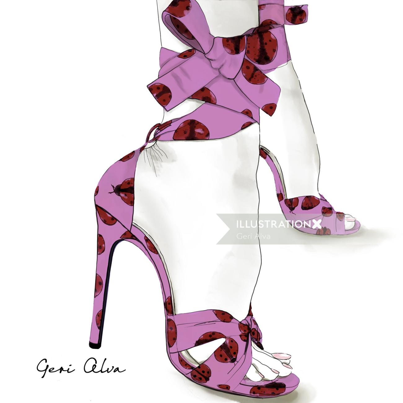 fashion, beauty, pencil illustrations, digital illustrations, high heels ladybug pumps collection, l