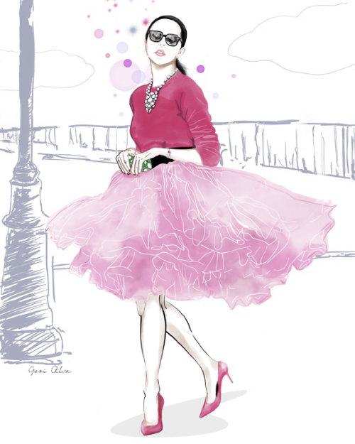 Fashion illustration for New York Socialite