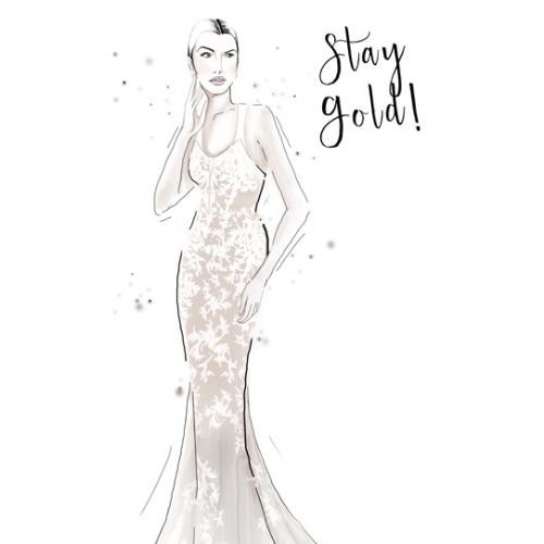 fashion, fashion illustrations, fashion editorial illustrations, beauty, stay gold, woman with gown,