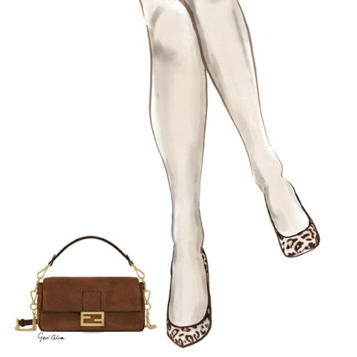 Beauty illustration of Fendi Purse and Cheetah Pumps