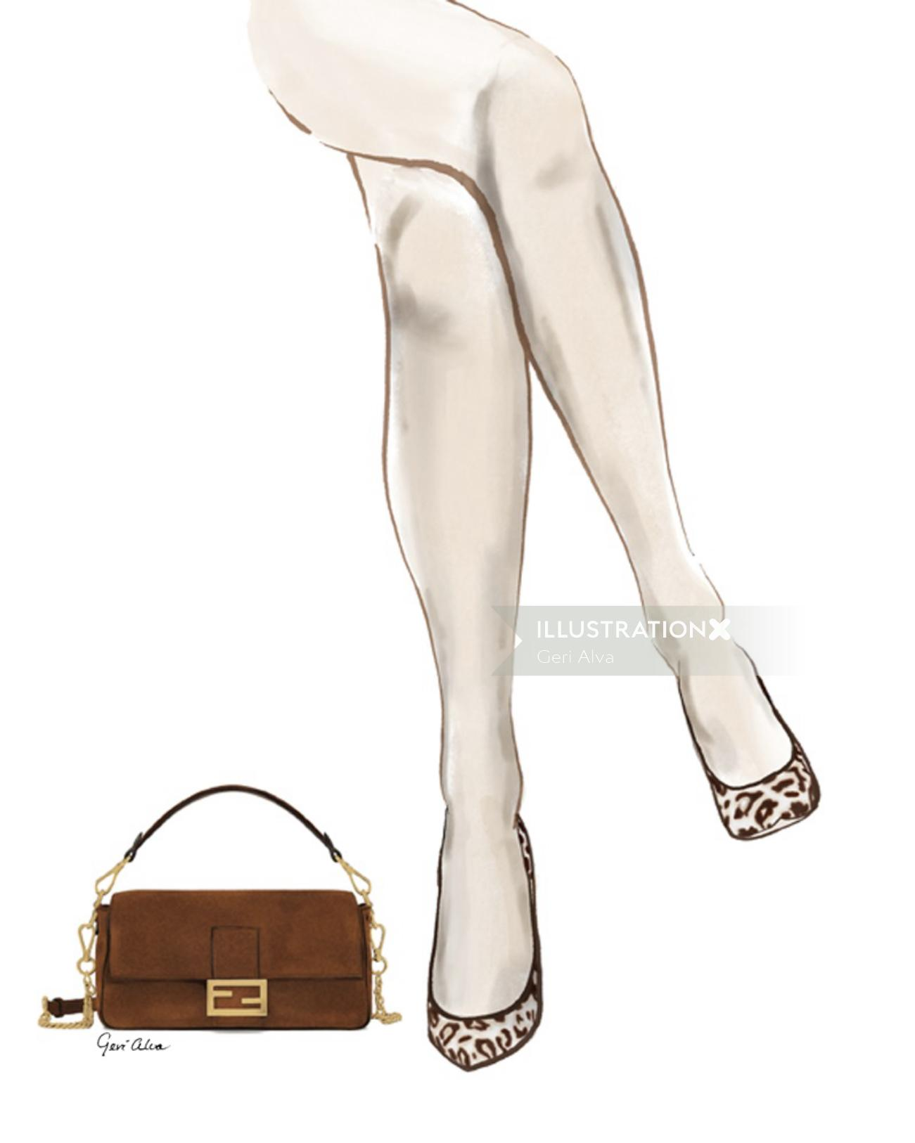Beauty illustration of Fendi Purse and Cheetah Pumps