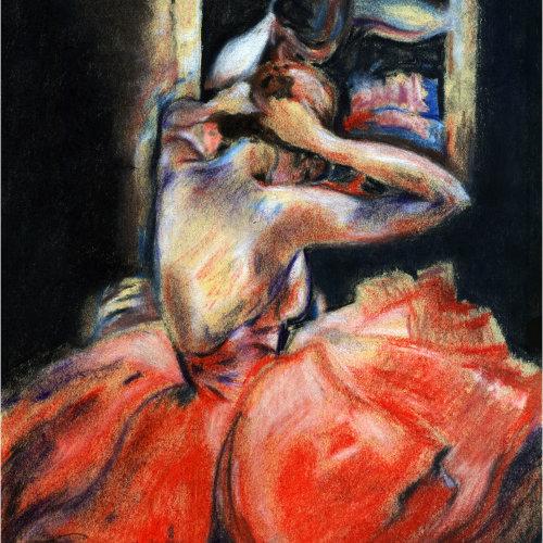 Watercolor fashion illustration of Ballerina Backstage