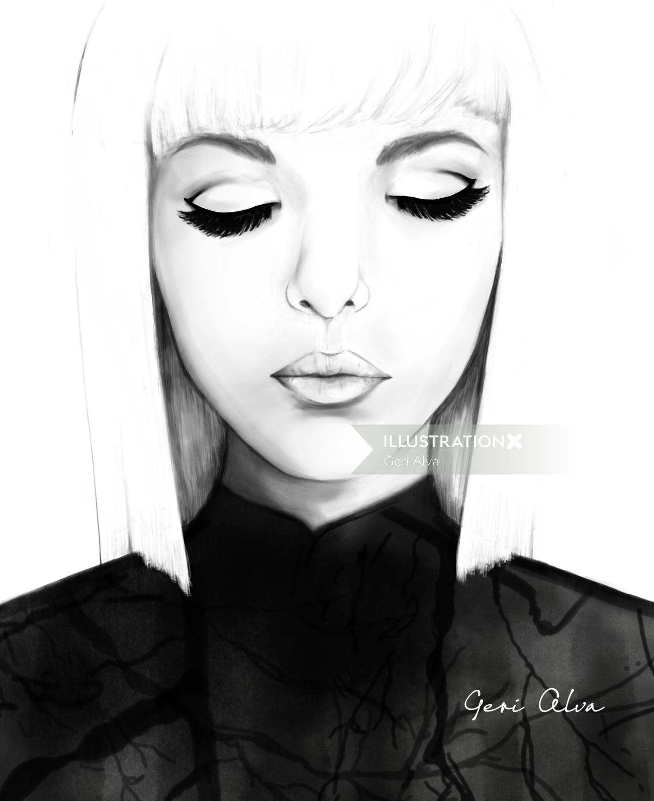 Japanese Culture black and white illustration