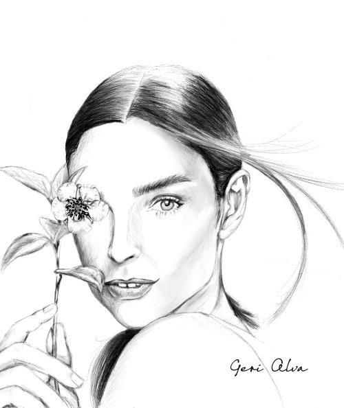 moda, ilustrações de moda, beleza, mulher com ilustrações de plantas, mulher com flores illustrati