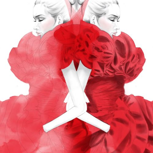 Couture Red Dress fashion illustration