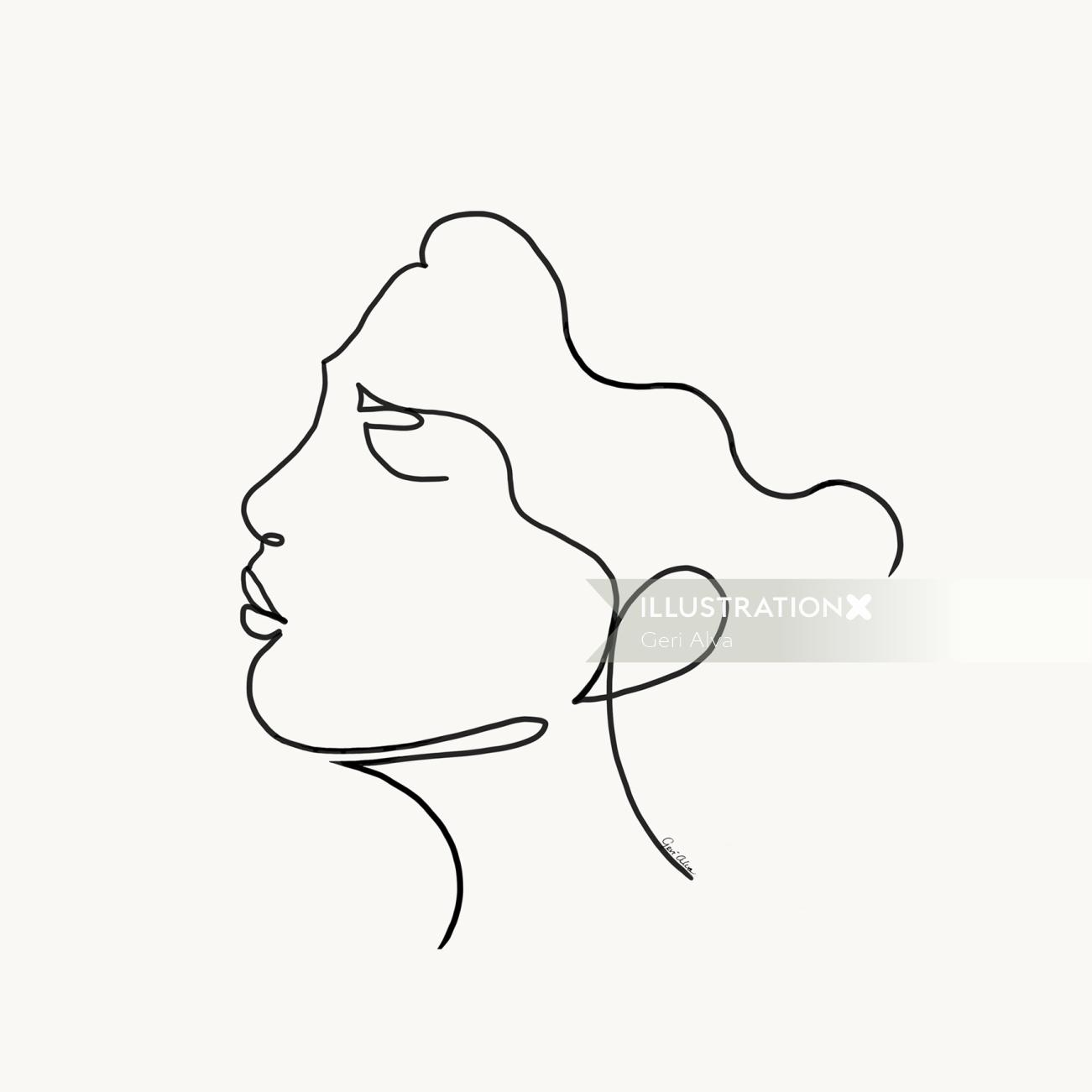 Line Portrait of an African American Proud Lady