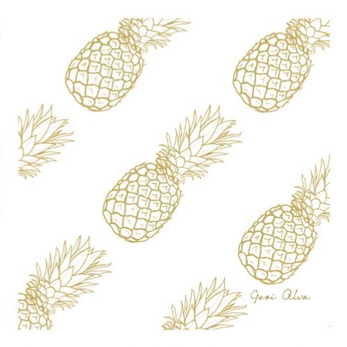Watercolor painting of Golden Pineapples
