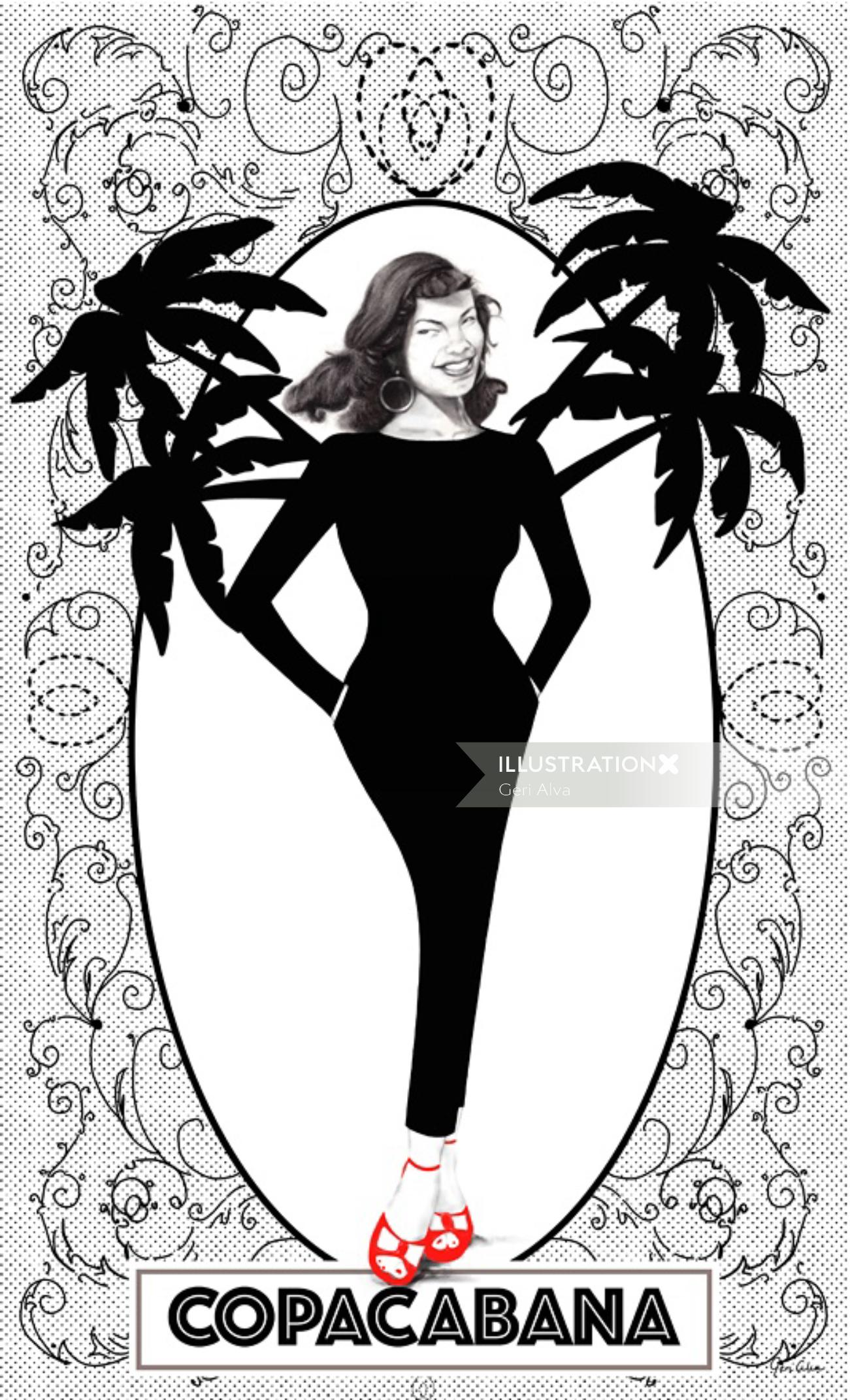 Copacabana, brazil Copacabana, brazil beach, vintage illustrations, palm tree illustrations, vintage