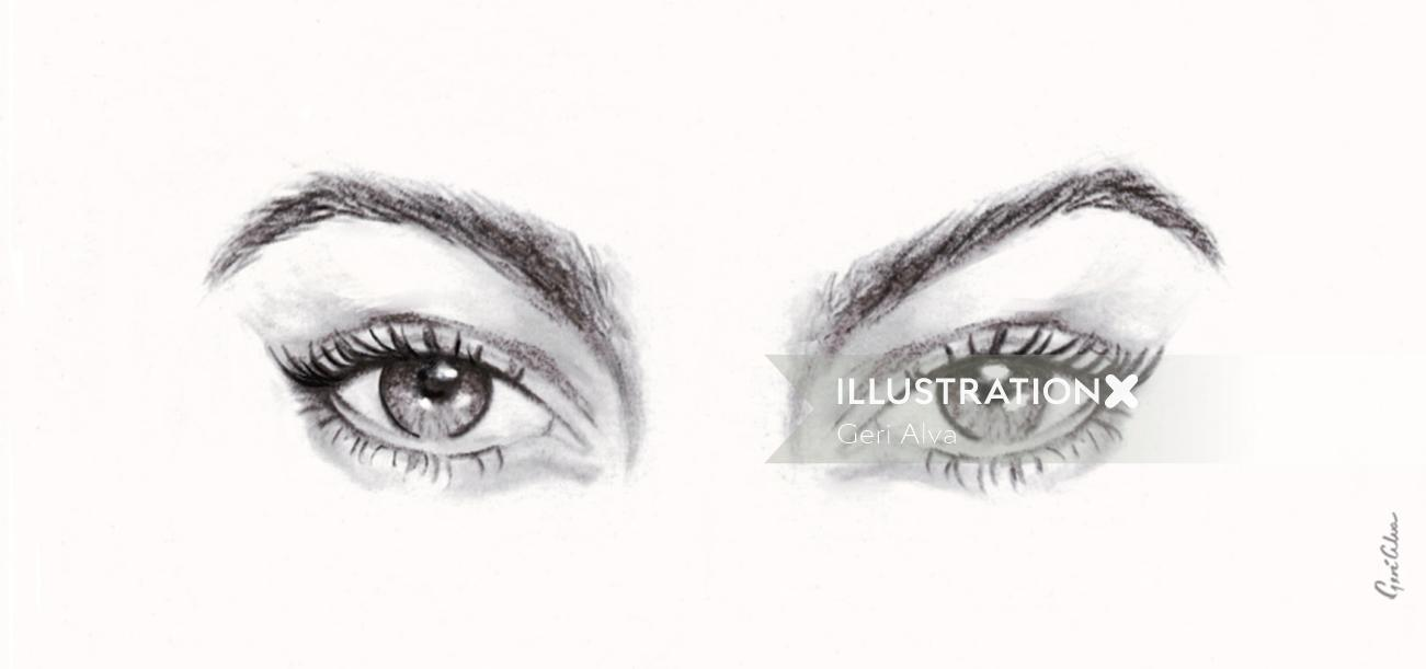 eye wink, eye illustrations, graphite eye illustrations, graphite pencil eye illustrations, eye anim