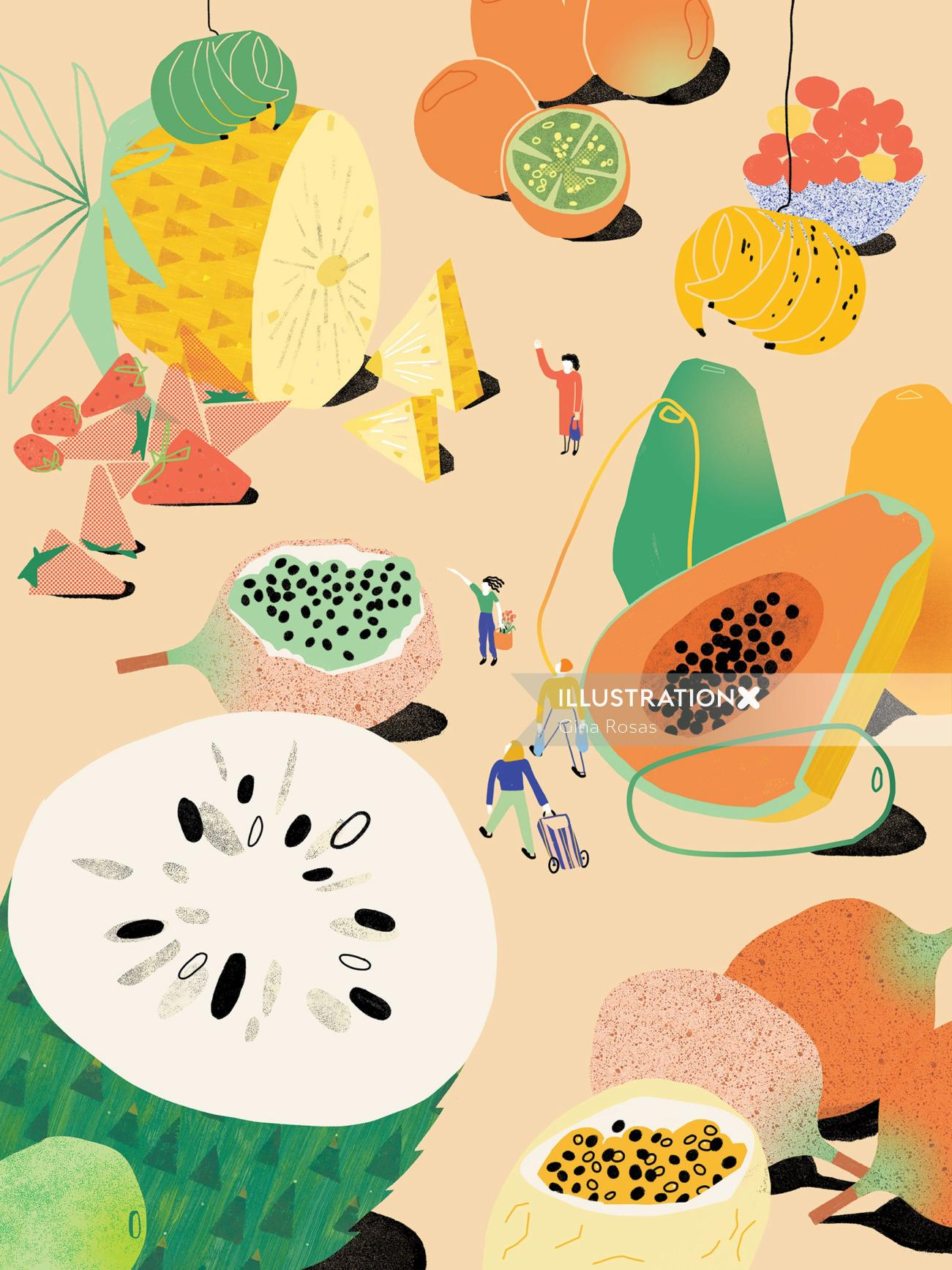 Editorial art of fruits by Gina Rosas for Heimat exhibition