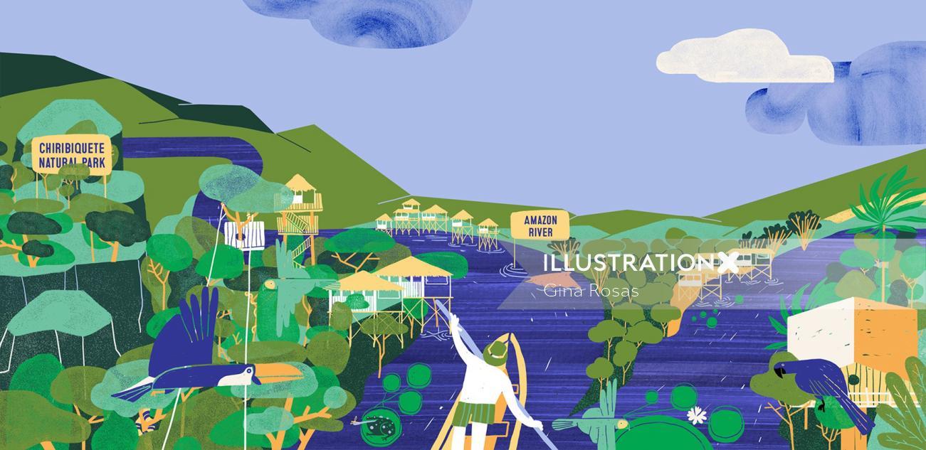 Amazonas forest digital art by Gina Rosas