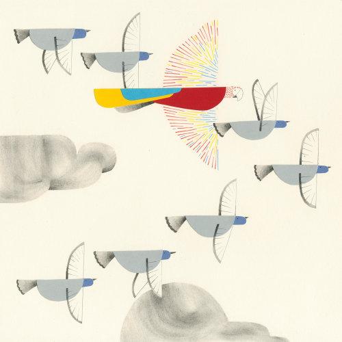 Paper art of birds flying