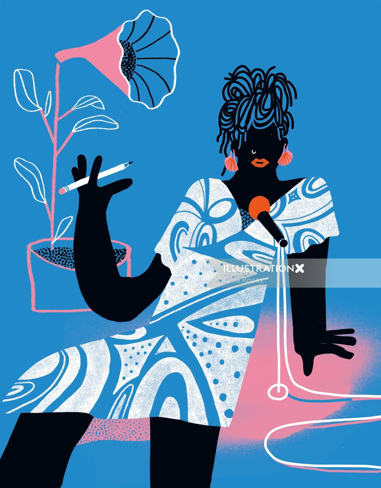 Fashion illustration of Elsie Swann for female emcee