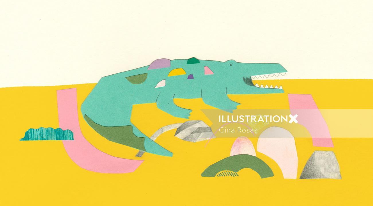 Paper art of crocodile