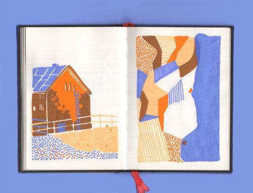 Book page design of city scape