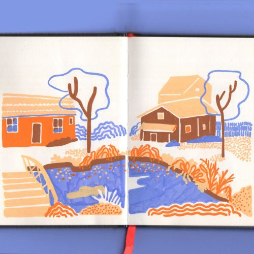 Live drawing of Sweden houses