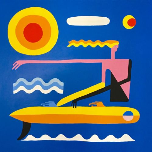 Abstract painting of woman riding a surfboard