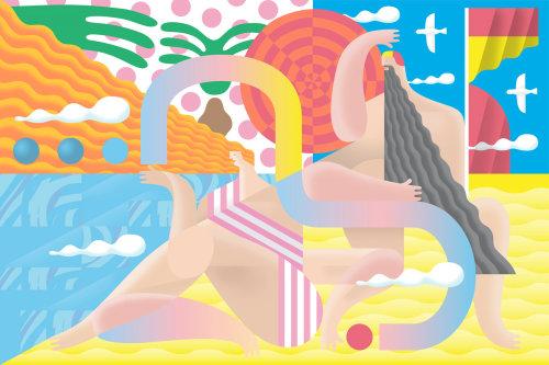 Murais de parede colorido por Go Guga