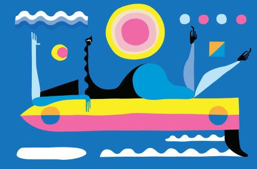 Uma ilustração da mulher deitada na prancha de surf