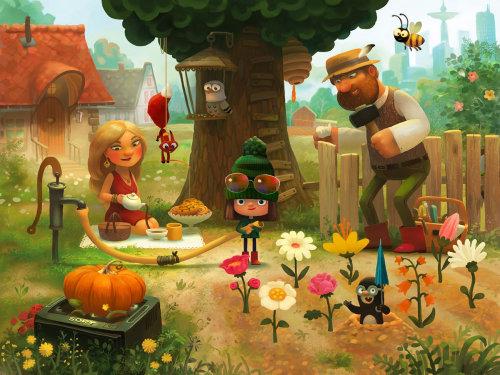 Illustration Of Family Enjoying the Holiday