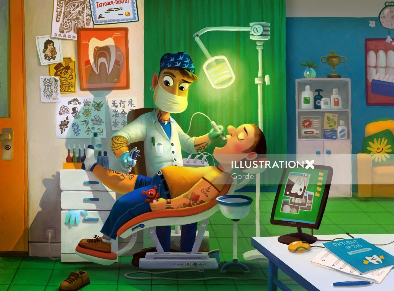 Dentist Making Tattoo and Cleaning the Teeth