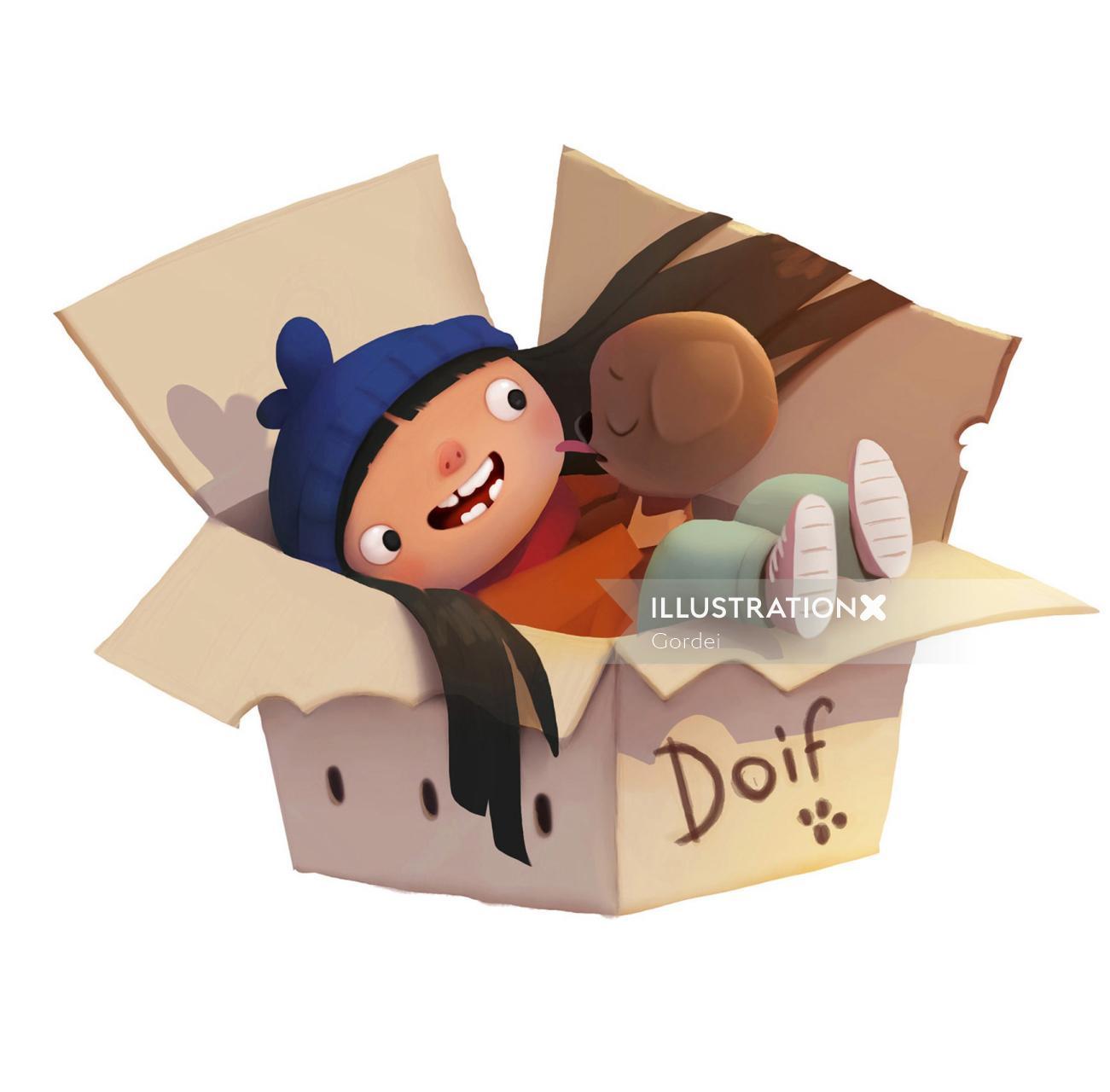Children's Illustration For Magic Dog Doif