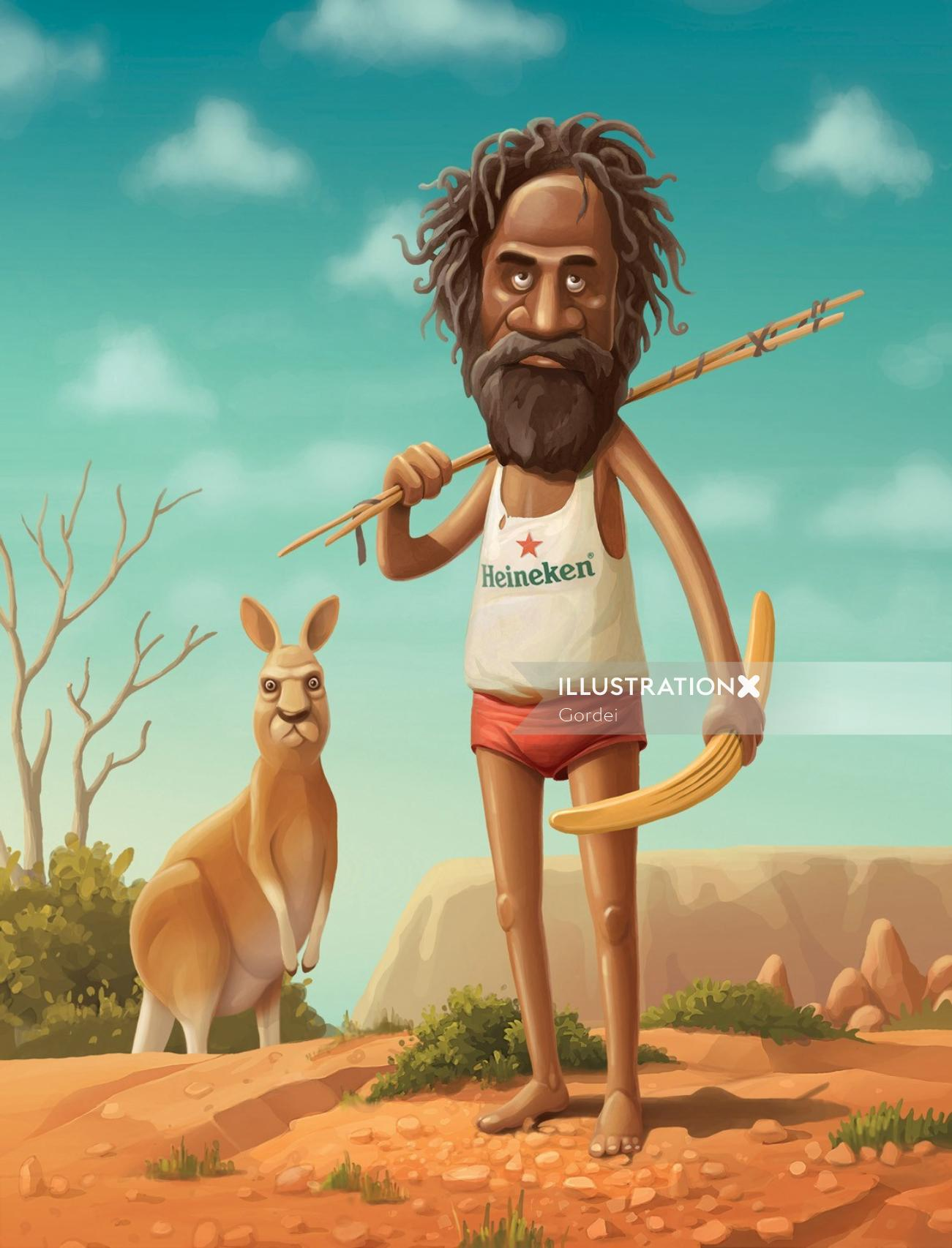 Watercolour Art Of Man and Kangaroo