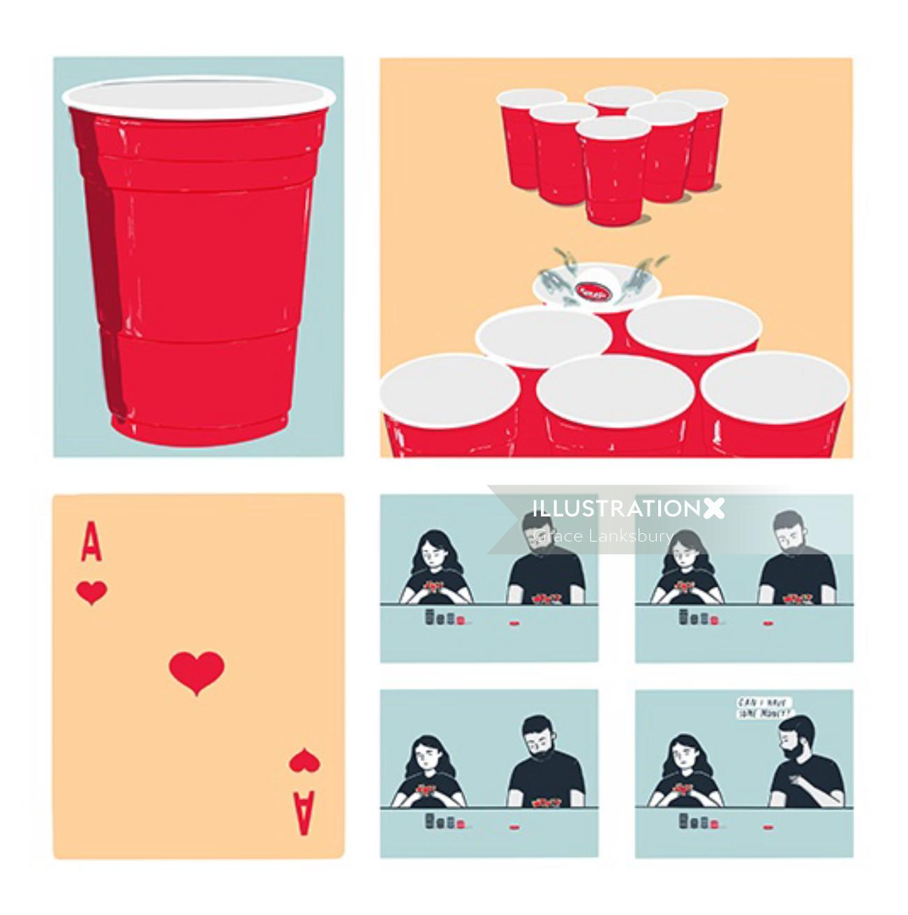 Graphic design of Beer pong and poker