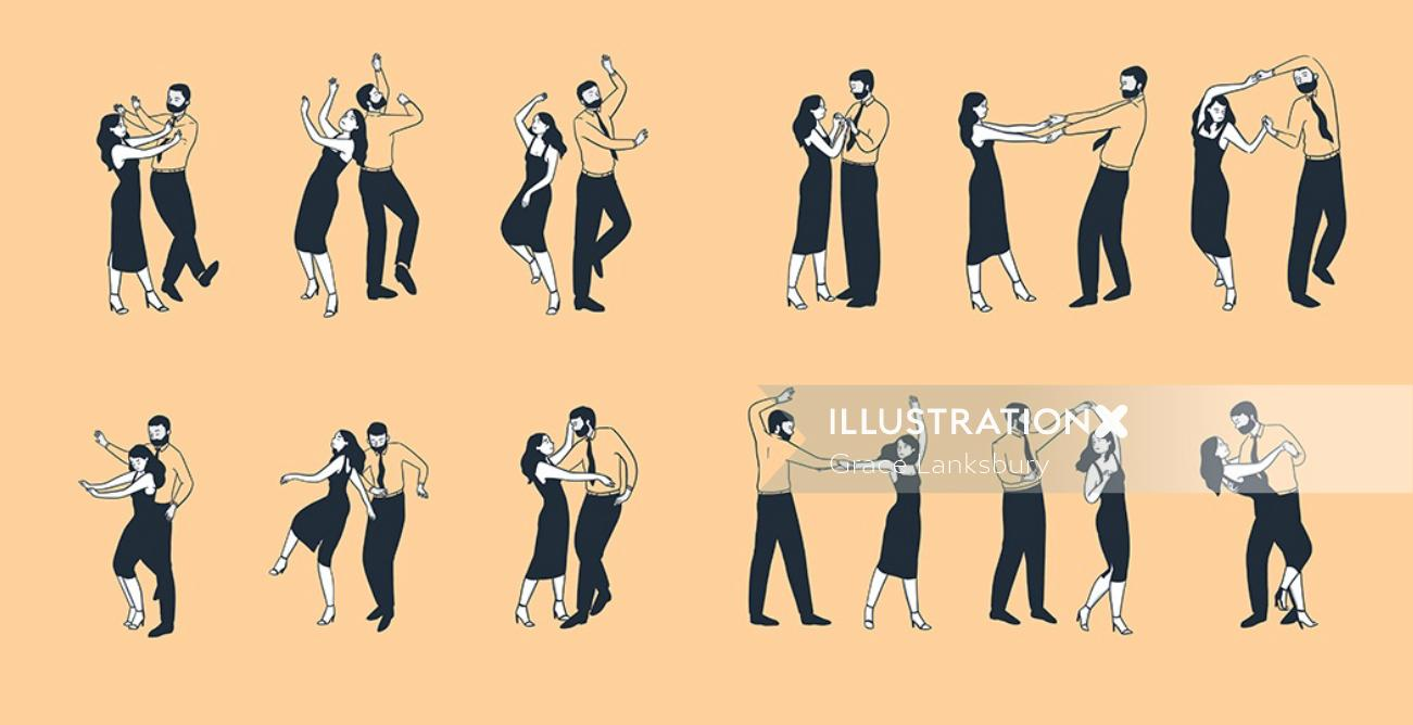 Graphic design of Learning how to swing dance
