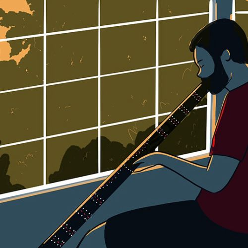 Graphic design of Playing the didgeridoo for novel