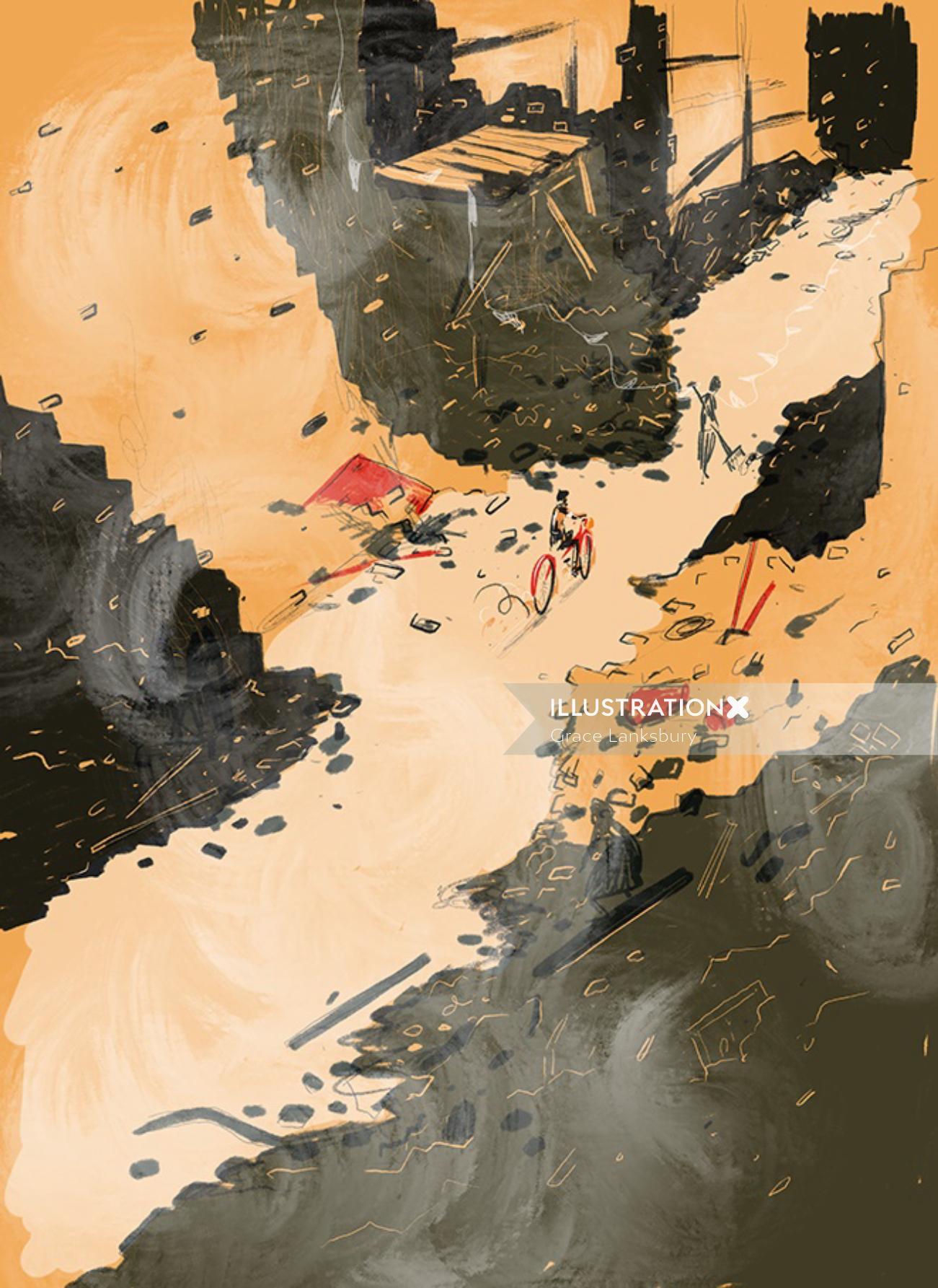 Digital painting of Garbage area