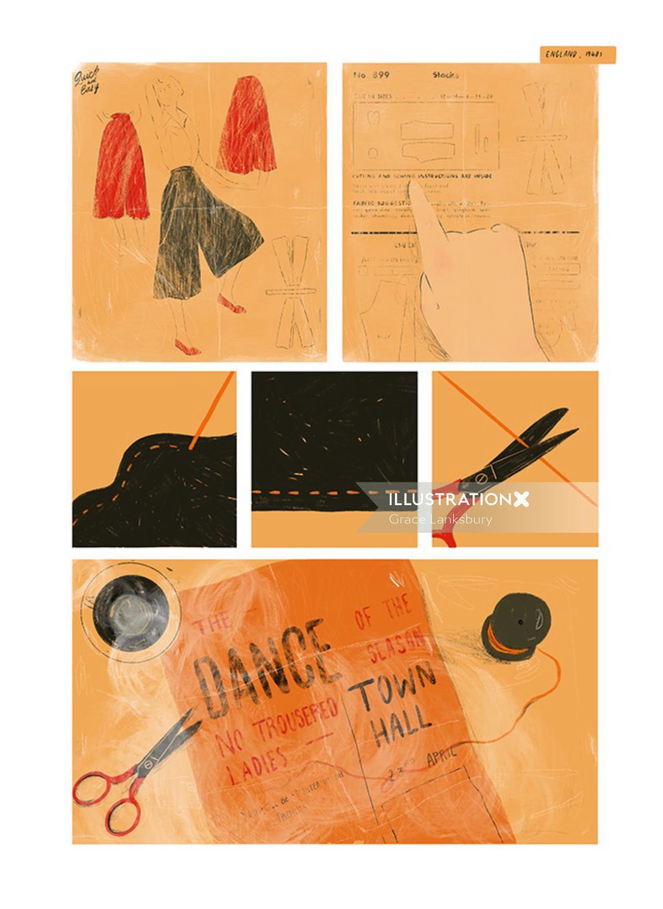 Fashion illustration of fashion design