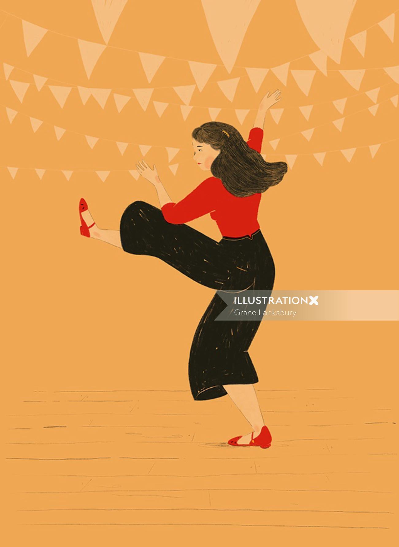 Fashion illustration of dancing girl