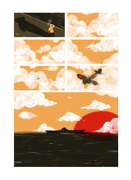 Storyboard illustration of flight crash