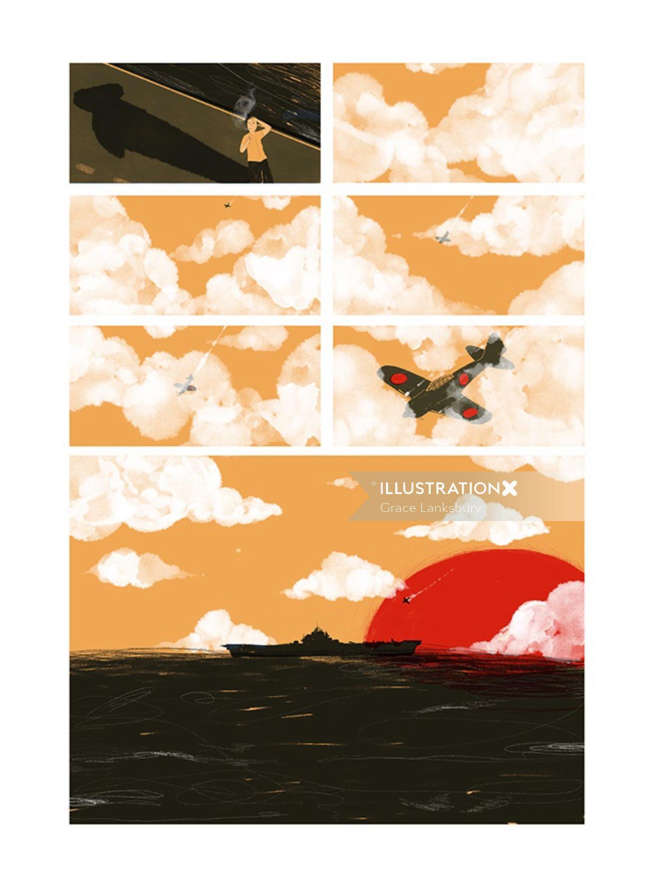 Storyboard illustration of flight crash