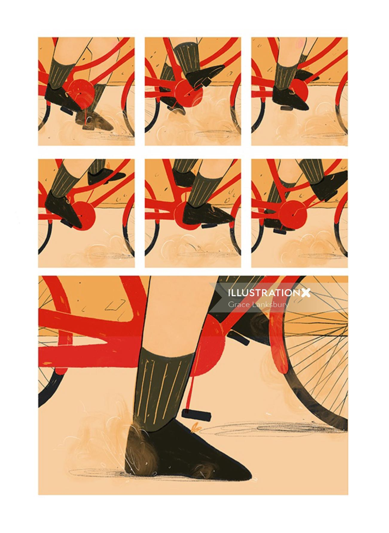 Storyboard illustration of cycle pedal